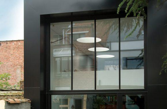 Grey tall aluminium windows